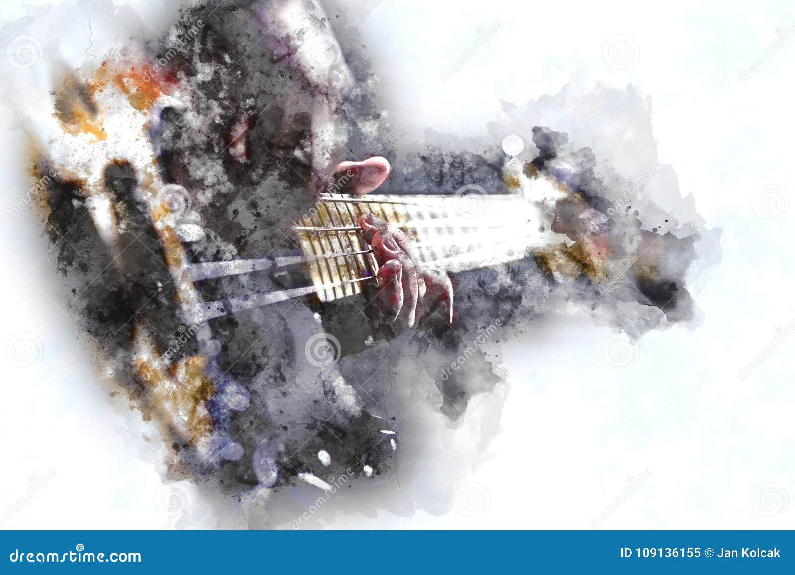 Osoba Bawić się Elektryczną Basową gitarę w akwarela stylu