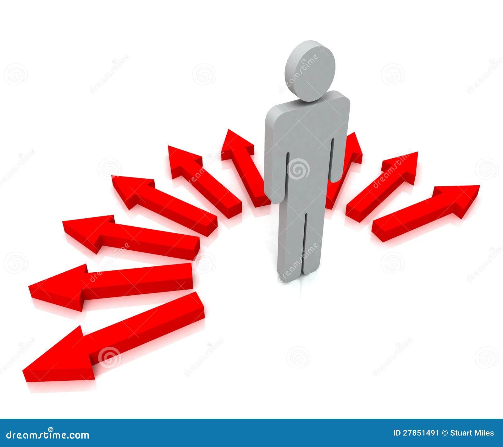 Osoba Z Czerwonymi strzała Pokazuje Wiele wybory