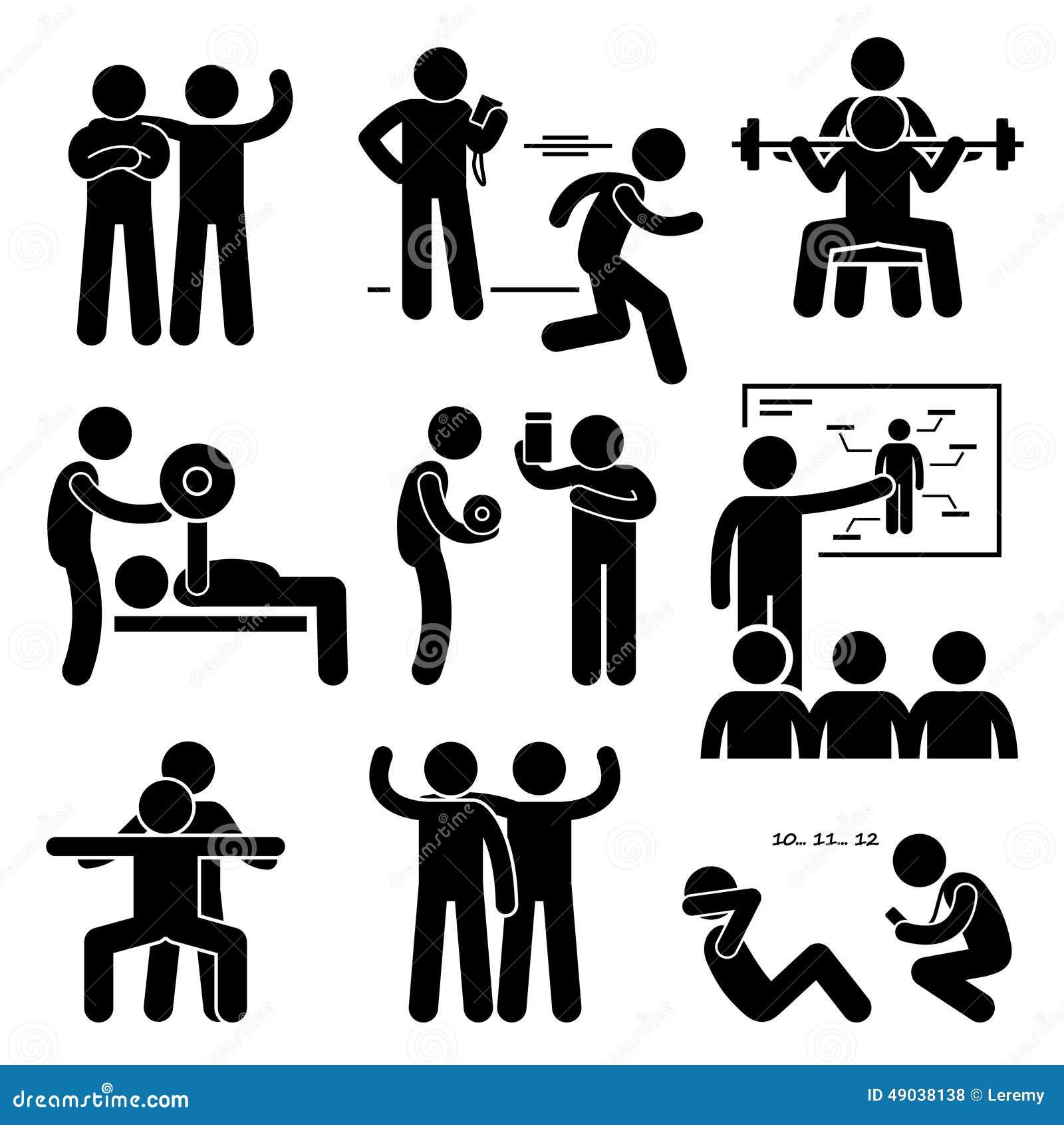 Osobiste Gym trenera trenera instruktora ćwiczenia treningu ikony
