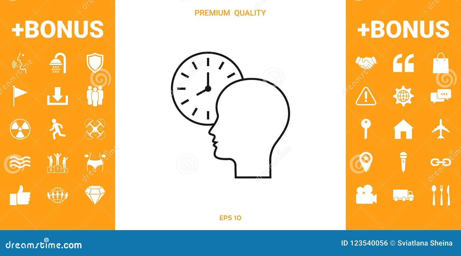 Osobisty rozkład, czasu zarządzanie, osoba z zegarkiem - kreskowa ikona