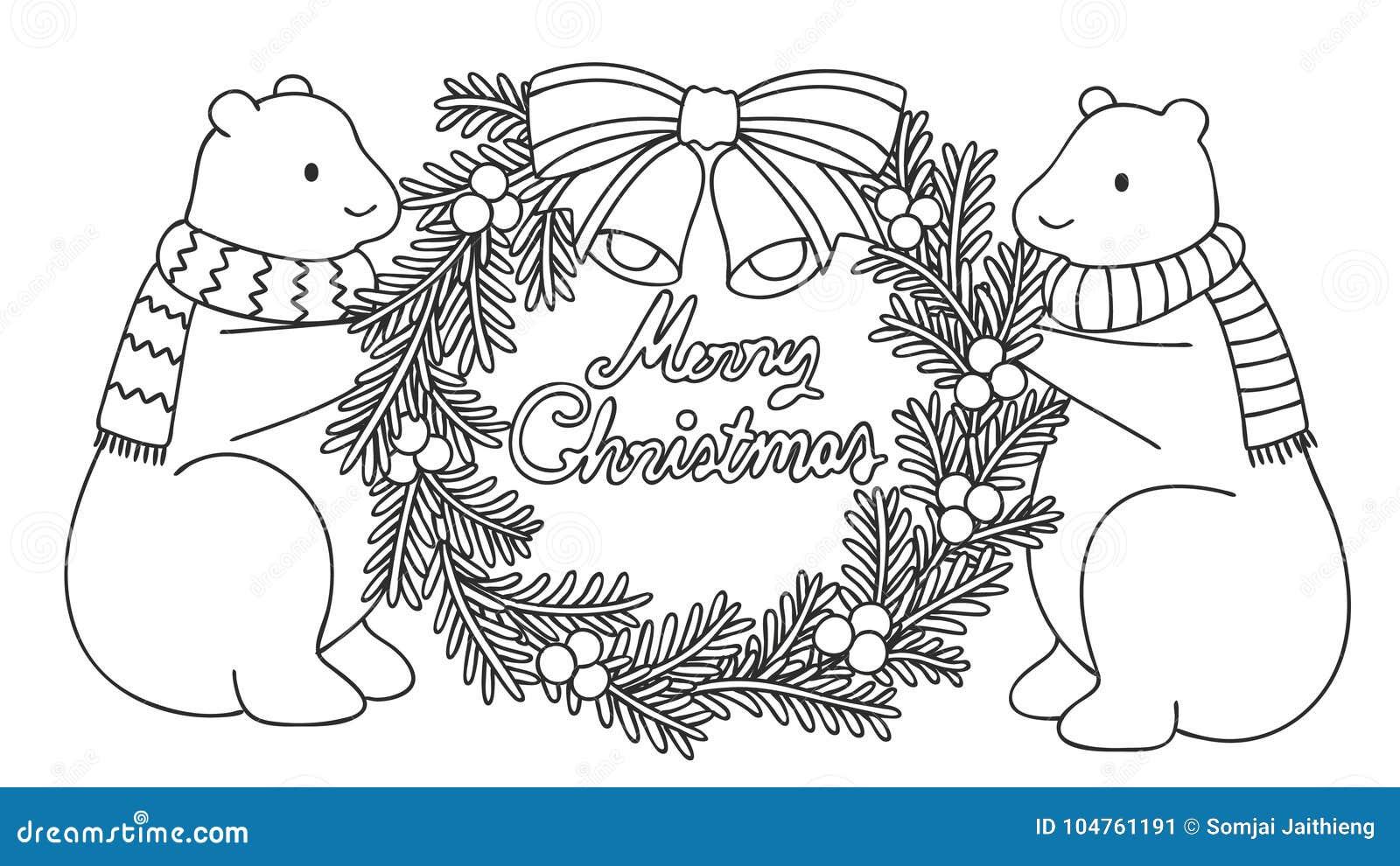 Osos Polares Lindos Que Celebran La Guirnalda De La Navidad Con ...