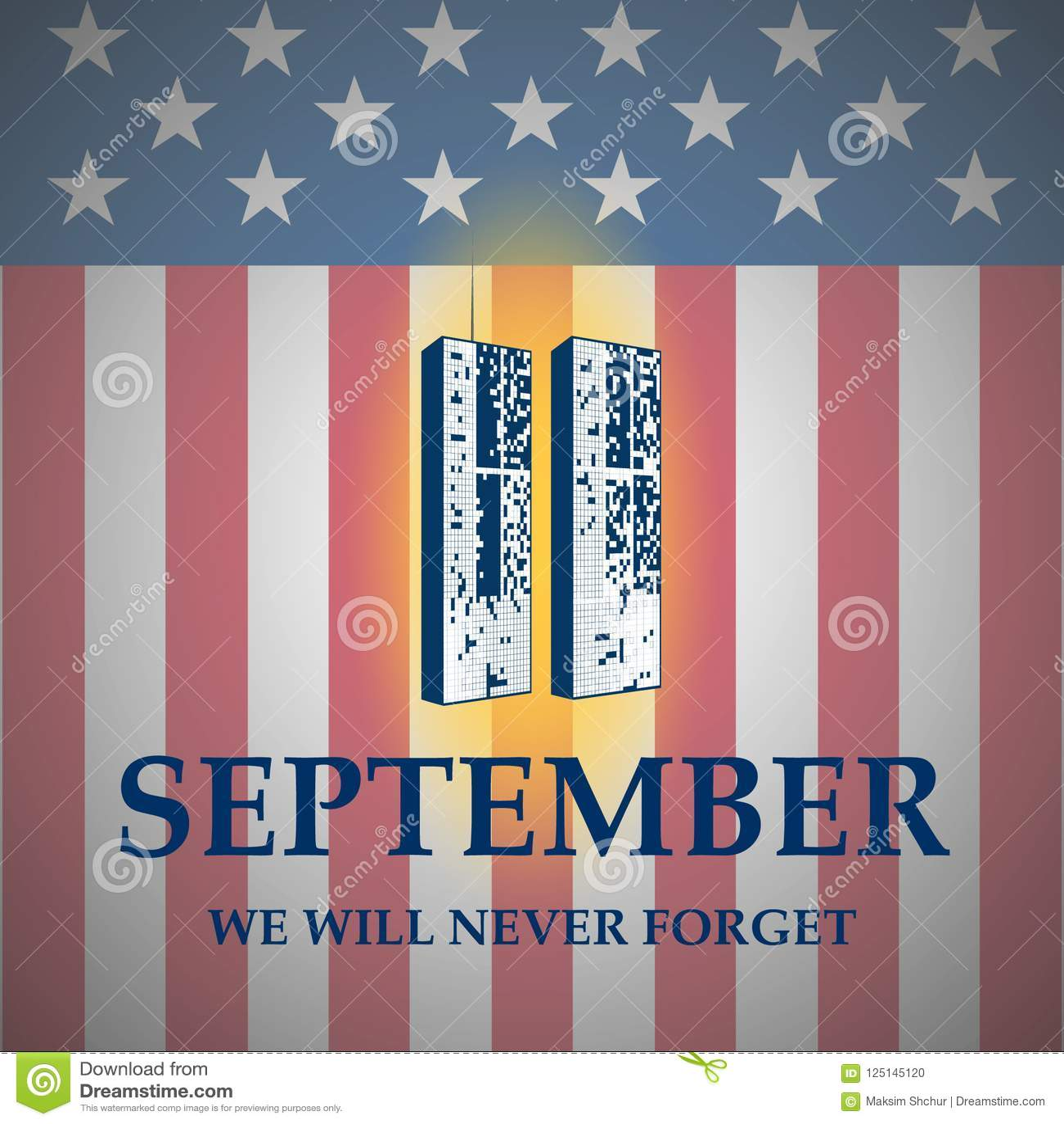 Oss skyddsremsa- och banerillustrationdesign September 11 Vi ska glömma aldrig