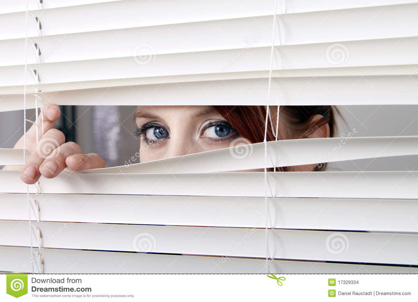 Osservando attraverso i ciechi di finestra
