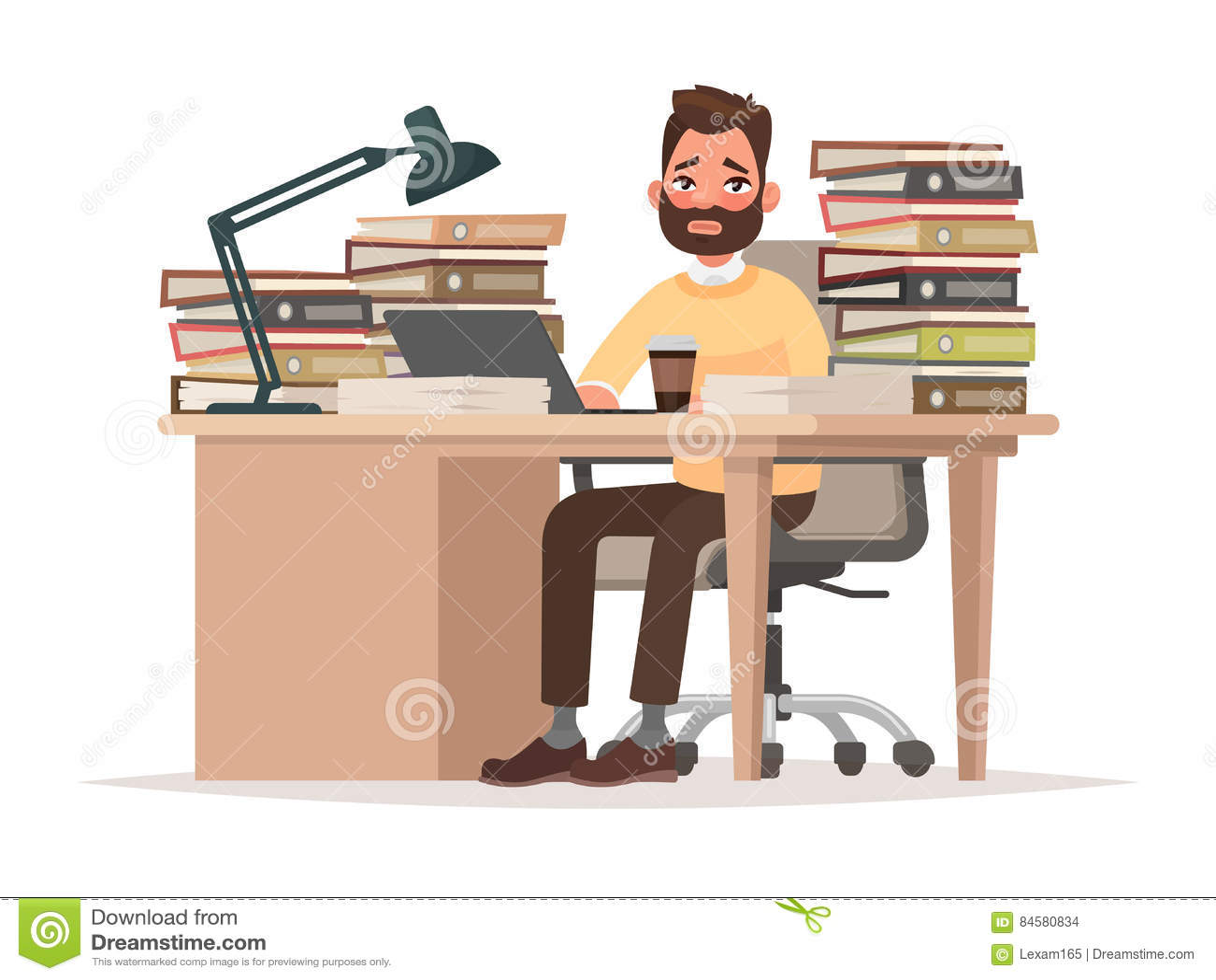 Ostateczni terminy przy pracą Zmęczony urzędnika mężczyzna przy jego biurkiem z lo