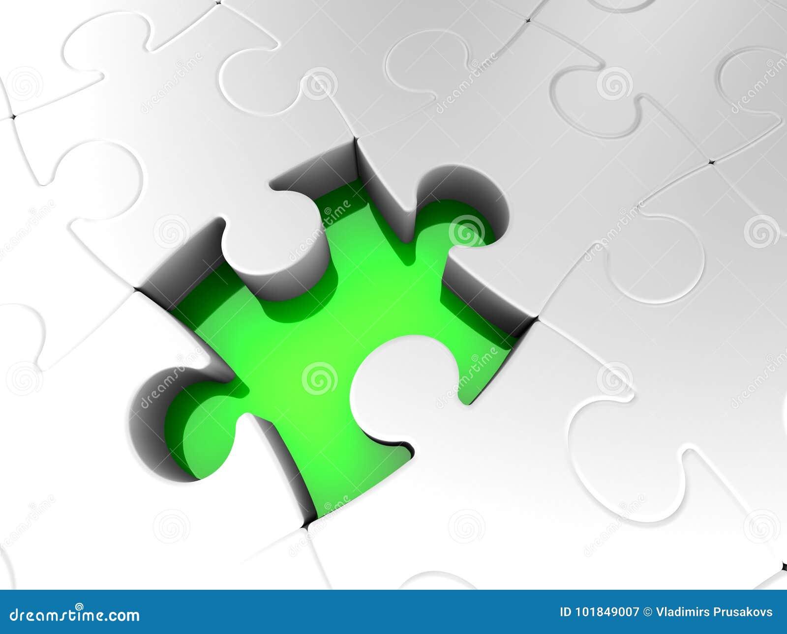 Ostatni łamigłówka kawałek, Zupełny wyrzynarki rozwiązanie, Zielona dziura
