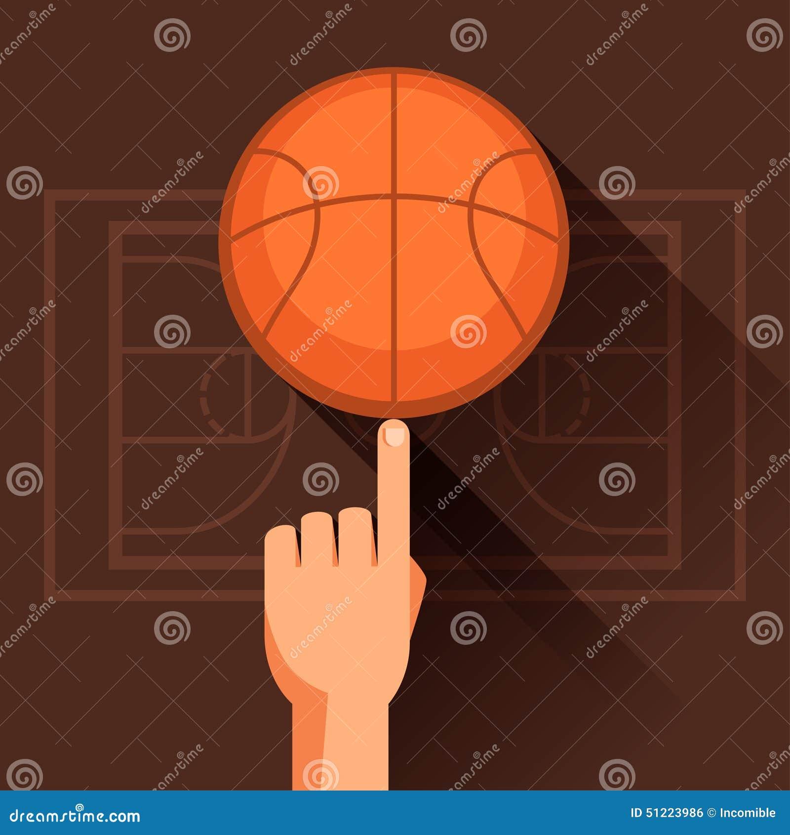Ostenta a ilustração do basquetebol de giro da mão