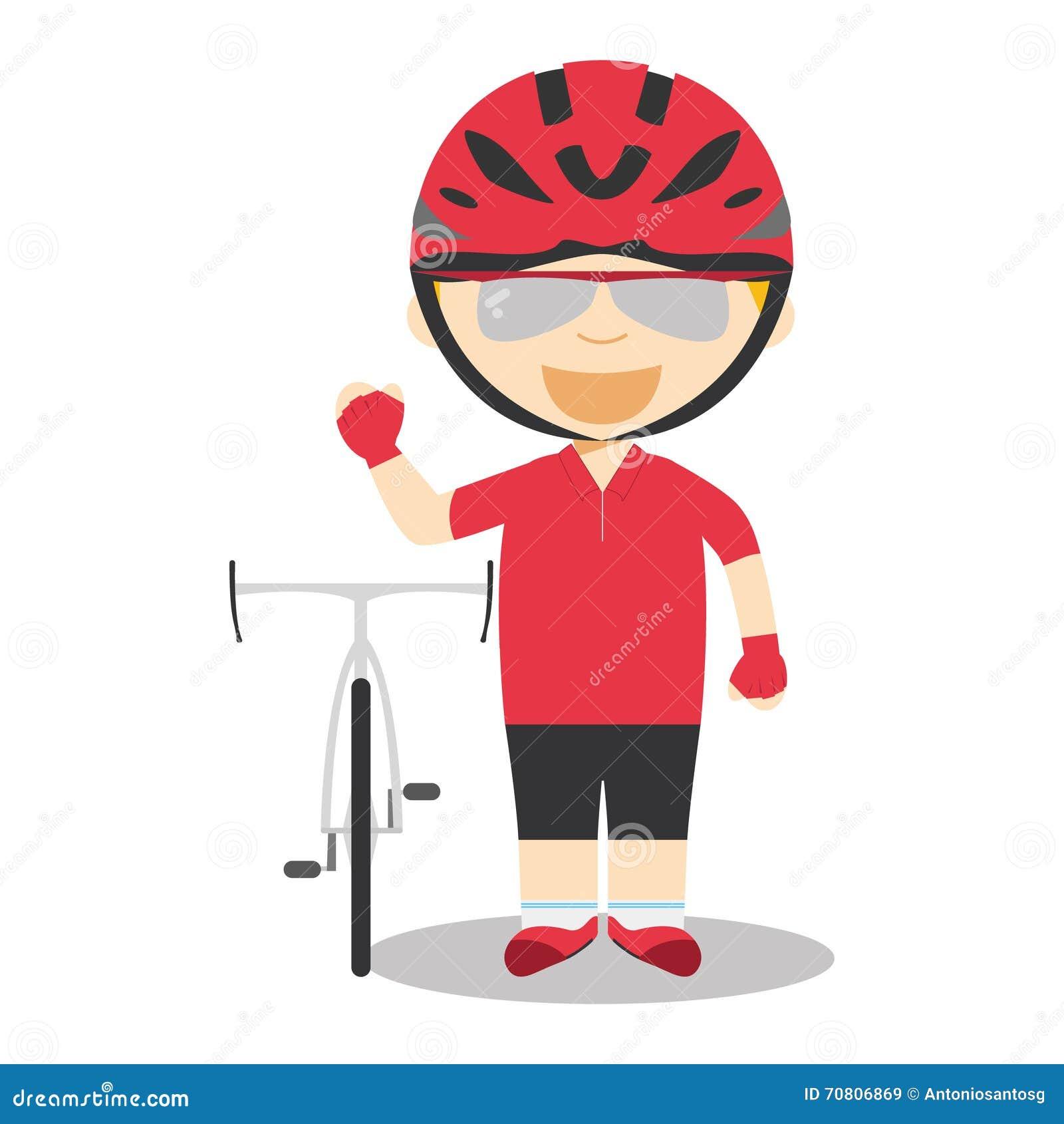 ostenta ilustrações do vetor dos desenhos animados ciclismo da