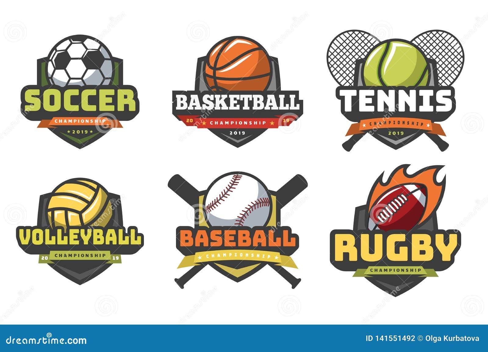 Ostenta logotipos das bolas Emblemas do clube da equipe do crachá do basebol do tênis do rugby do futebol do voleibol do basquete