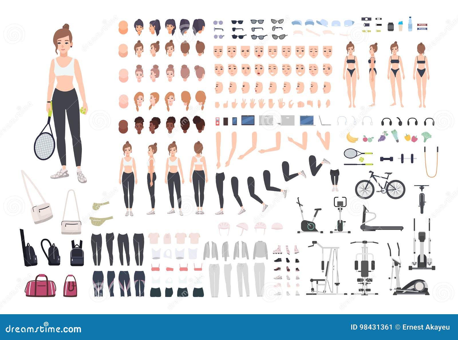 Ostenta o construtor do caráter da menina Grupo da criação da mulher da aptidão Posturas diferentes, penteado, cara, pés, mãos