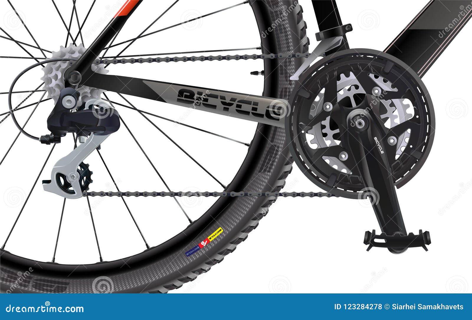 Ostenta o Mountain bike Vista lateral Realístico de alta qualidade Um grupo das rodas dentadas chain para uma bicicleta