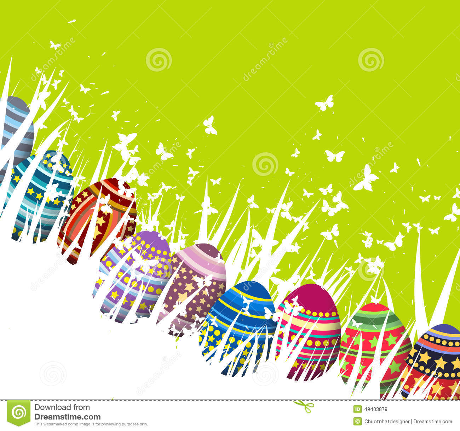 Download Osterei-Grünfrühlingshintergrund Vektor Abbildung - Illustration von himmel, gemalt: 49403879