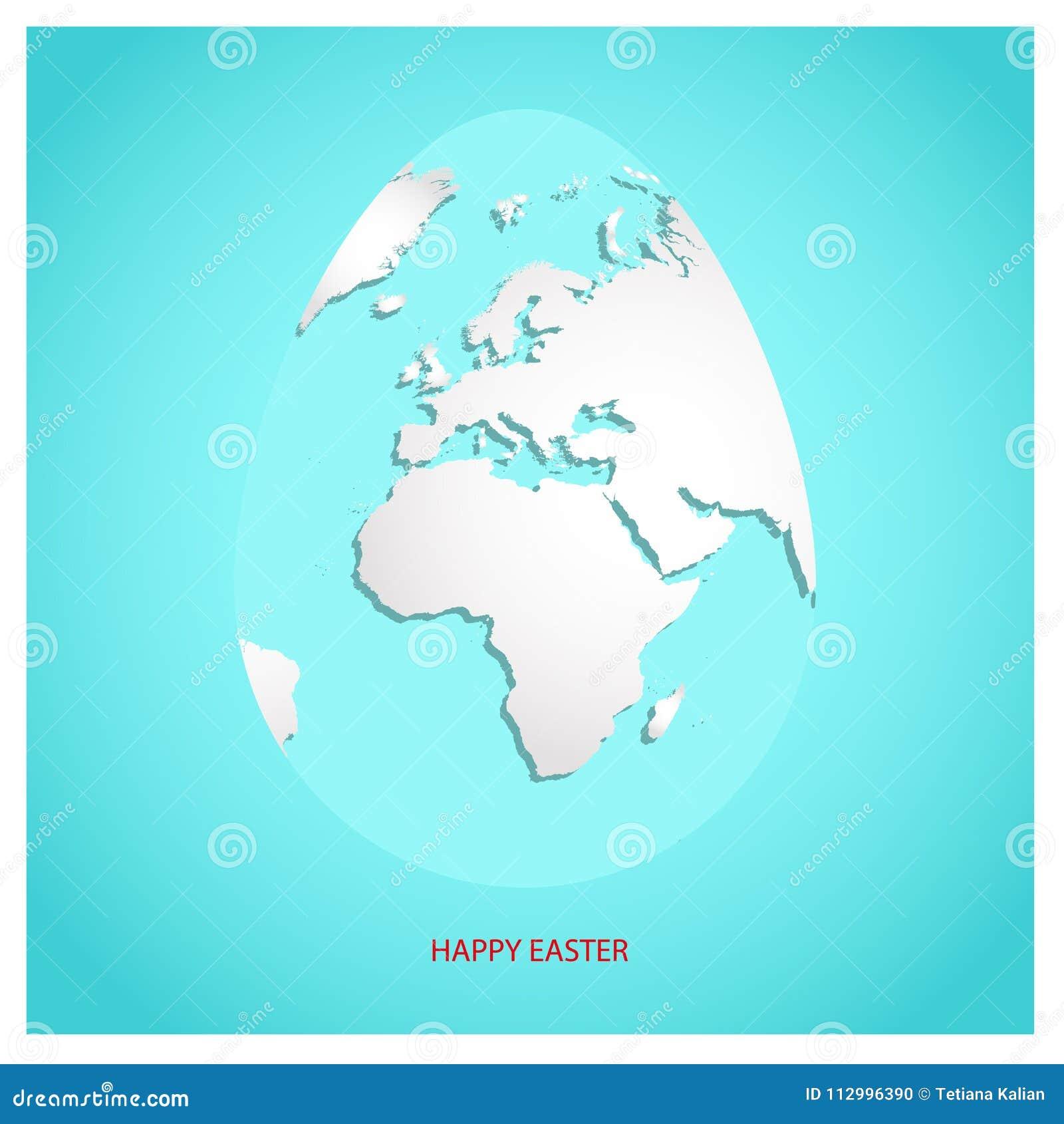 Osterei mit weißer Weltkarte Planeten-Erde in der Form des Eies auf Himmelblauhintergrund mit Grußtext fröhliche Ostern in der ro