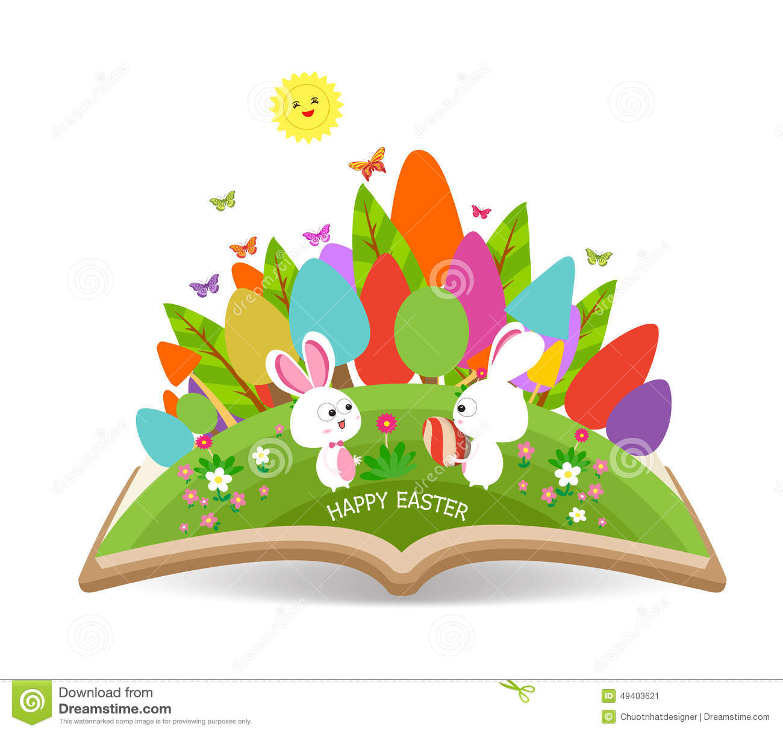 Download Osterei Und Häschen Entspringen Mit Grasgarten Im Buch Vektor Abbildung - Illustration von eier, glück: 49403621