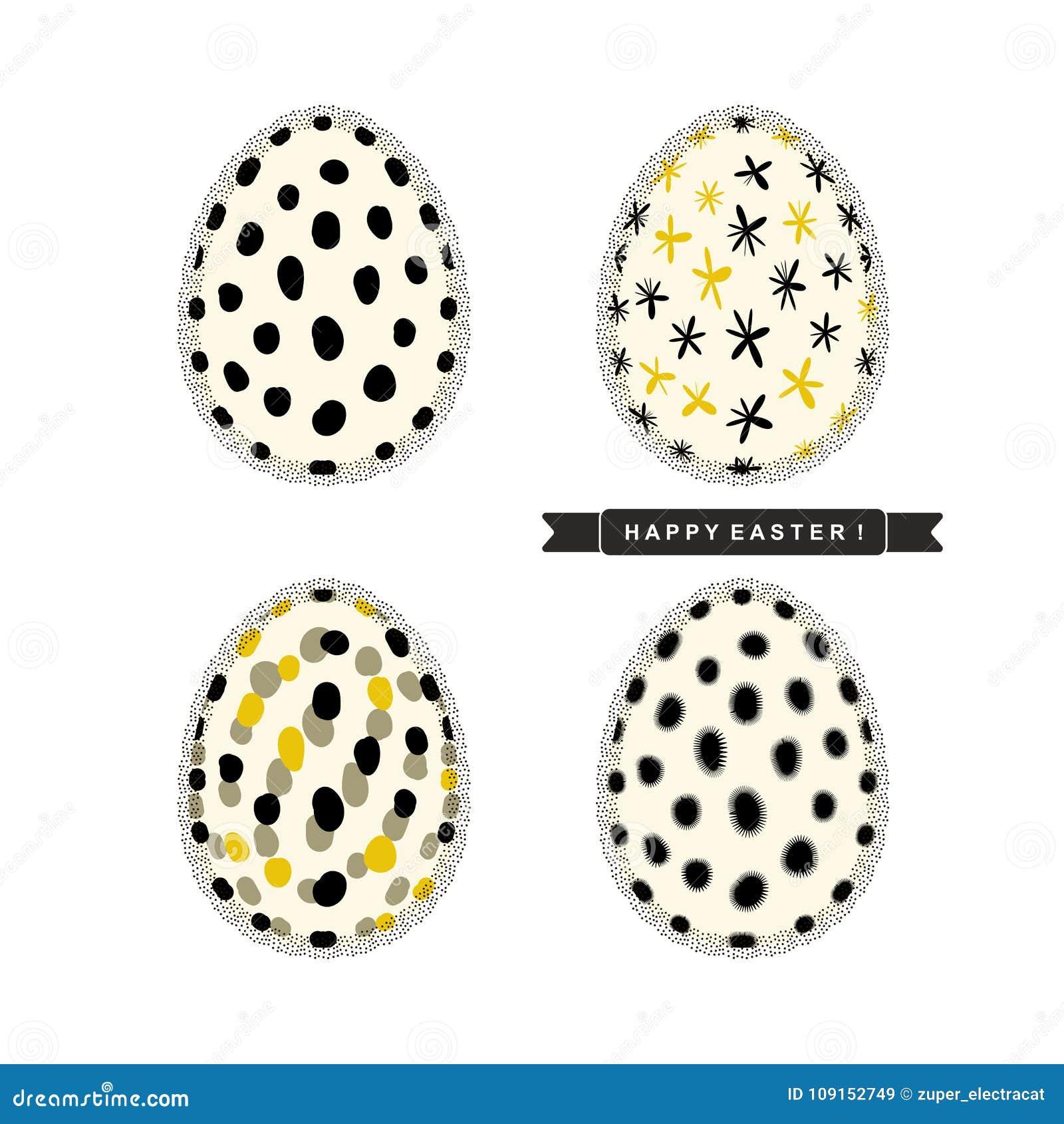 Ostereier mit abstraktem Muster und Trauerflor mit Text ` fröhliche Ostern! ` lokalisiert auf weißem Hintergrund Vektordesignsatz