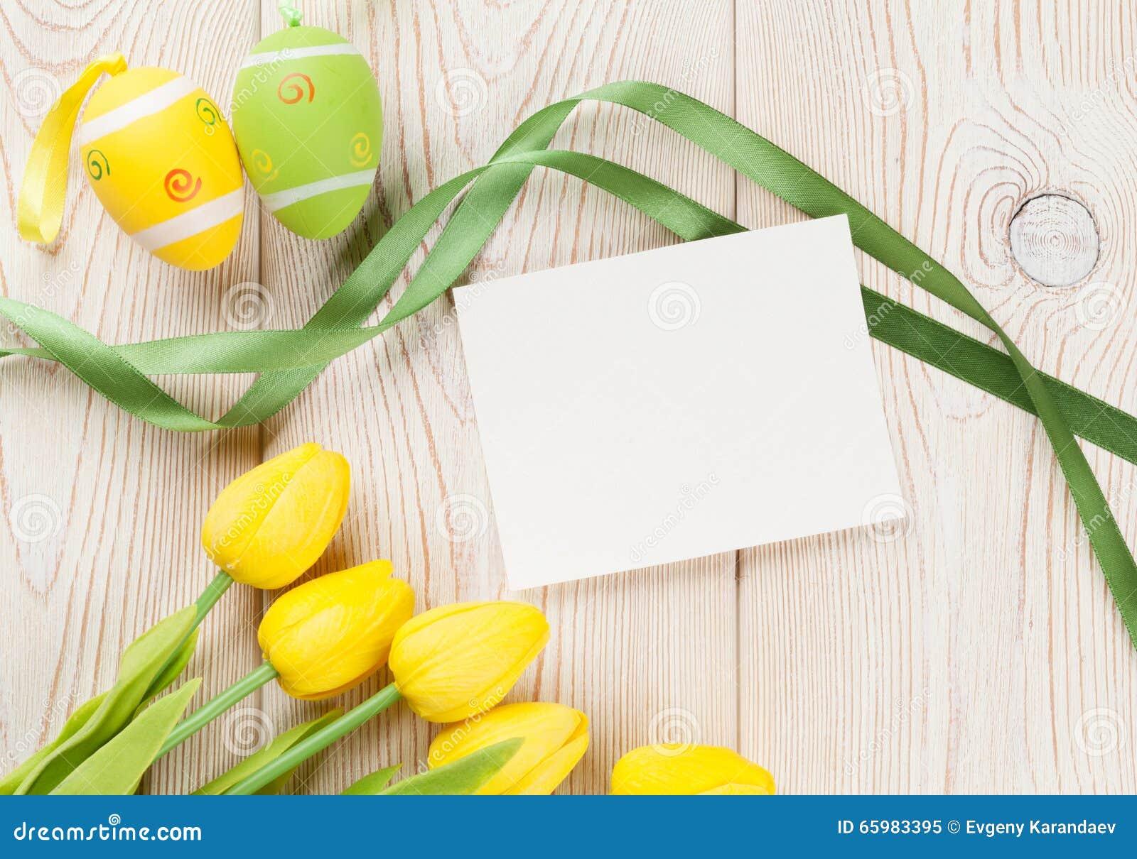 Ostereier, Tulpen Und Leere Karte Stockbild - Bild von ostern ...