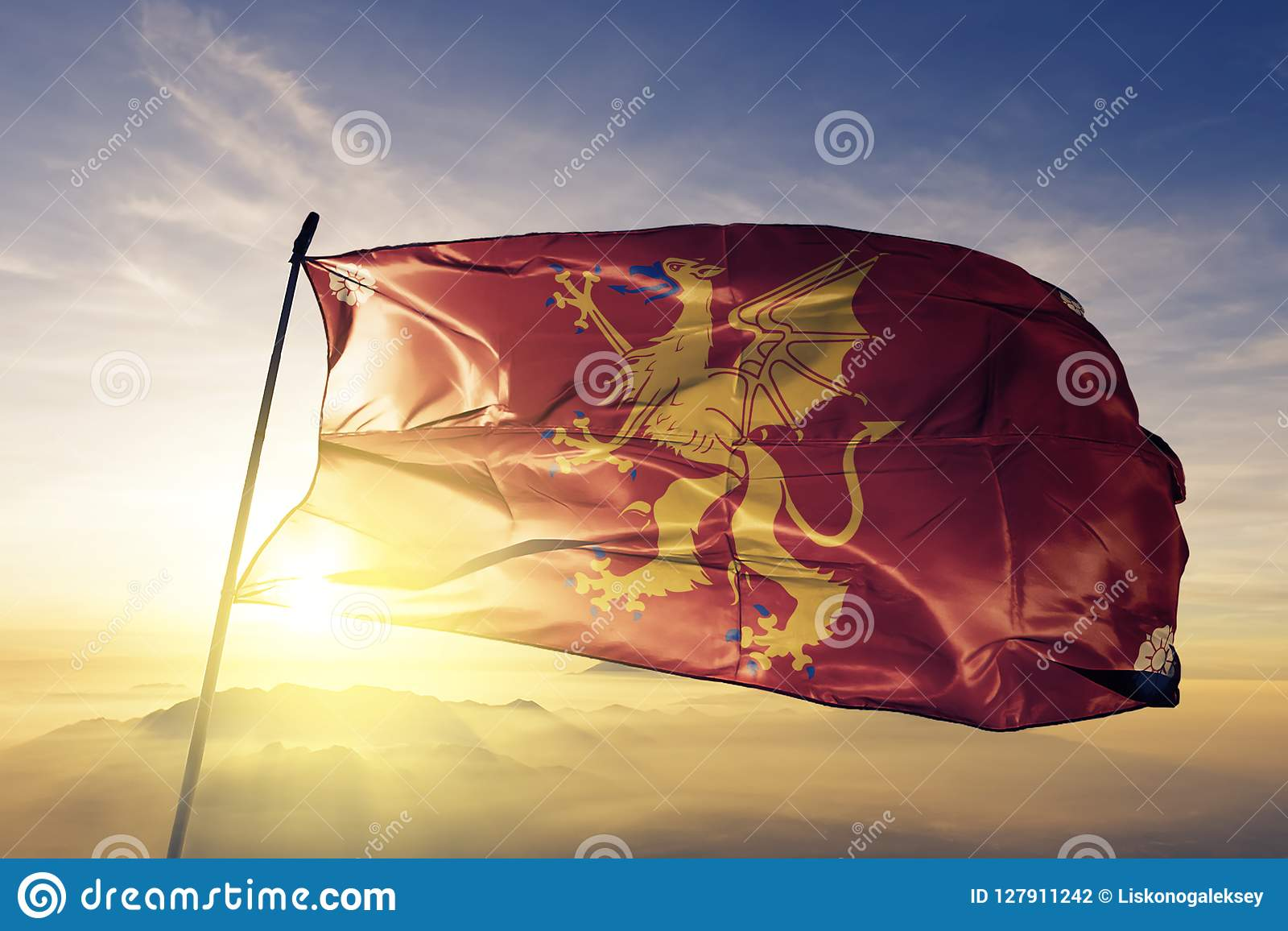 Ostergotland County Of Sweden Flag Textile Cloth Fabric Waving On The Top Sunrise Mist Fog Stock Illustration Illustration Of Government Banner 127911242