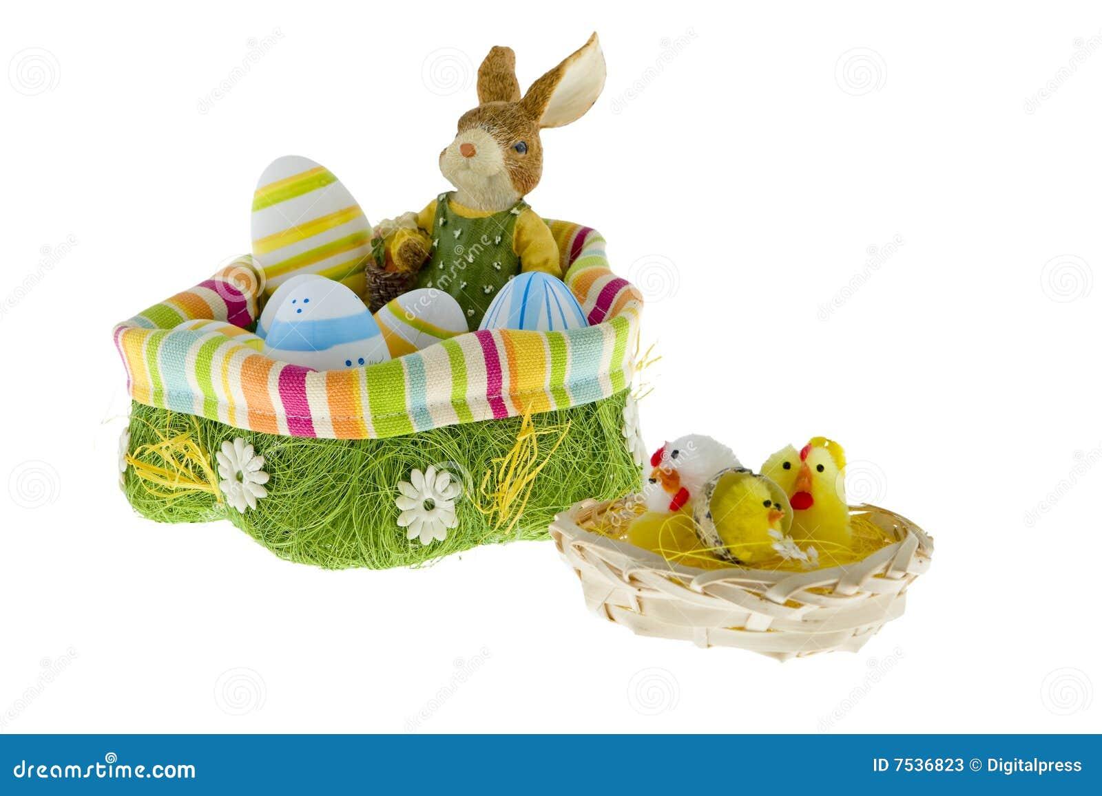 osterhase im nest mit eiern stockbild  bild von feiertag
