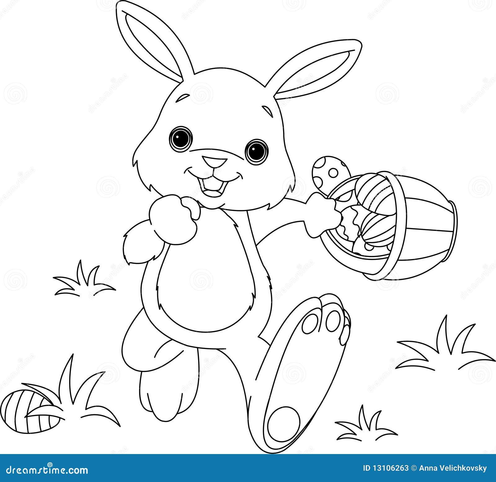 Osterhasen-versteckende Eier, Die Seite Färben Stock Abbildung ...