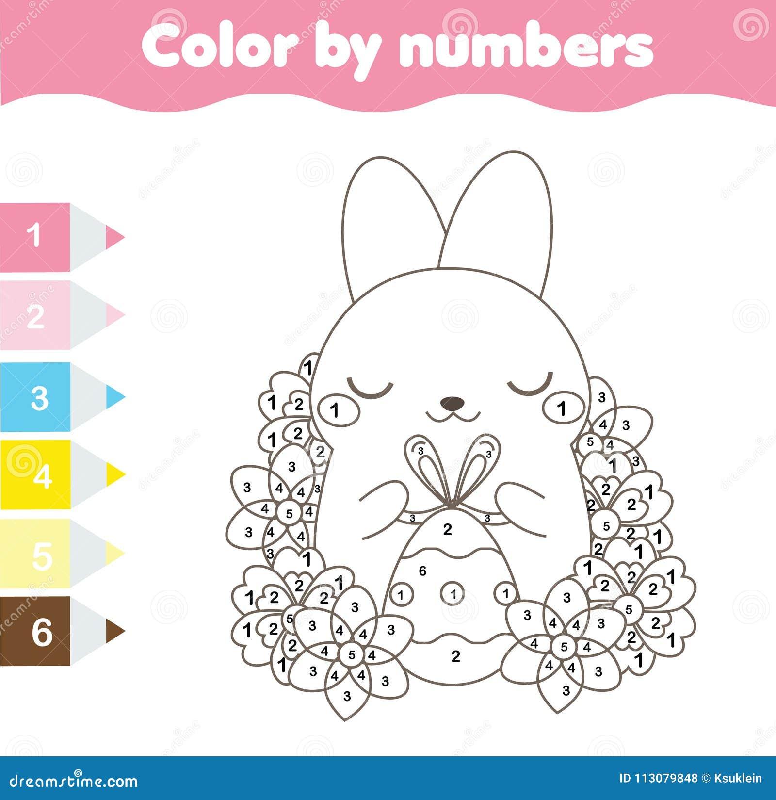 Ostern-Farbton-Seite Farbe Durch Zahlen, Bedruckbares Arbeitsblatt ...