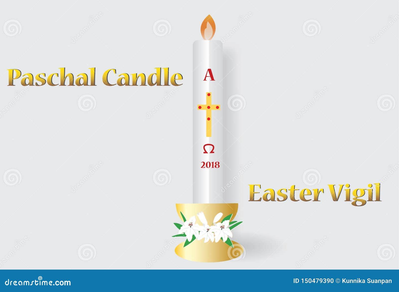 Ostern-Grußkarte mit der brennenden Kerze
