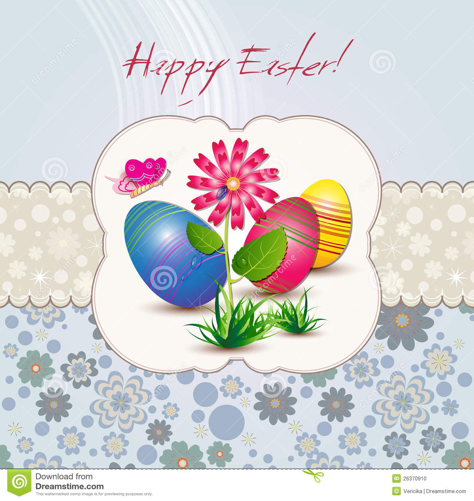 Ostern-Karte mit Blume und Eiern