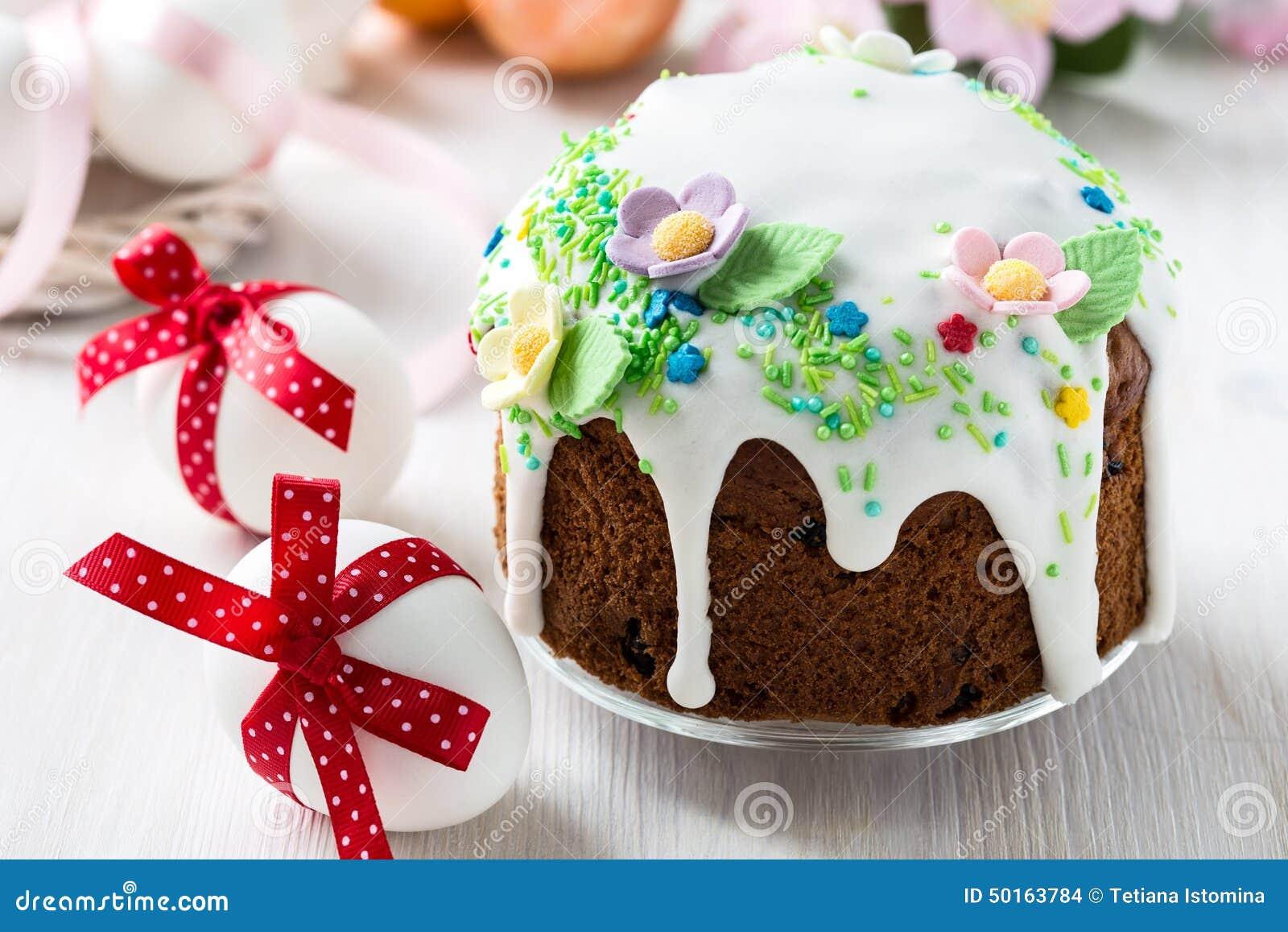 Ostern Kuchen Mit Glace Zuckerglasur Und Dekoration Stockfoto Bild