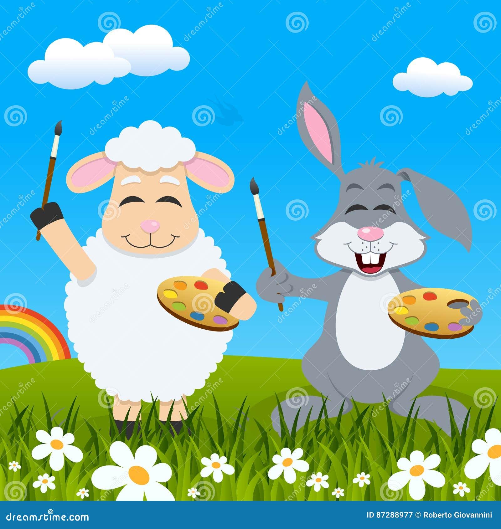 Ostern-Lamm u. Kaninchen-Maler u. Regenbogen
