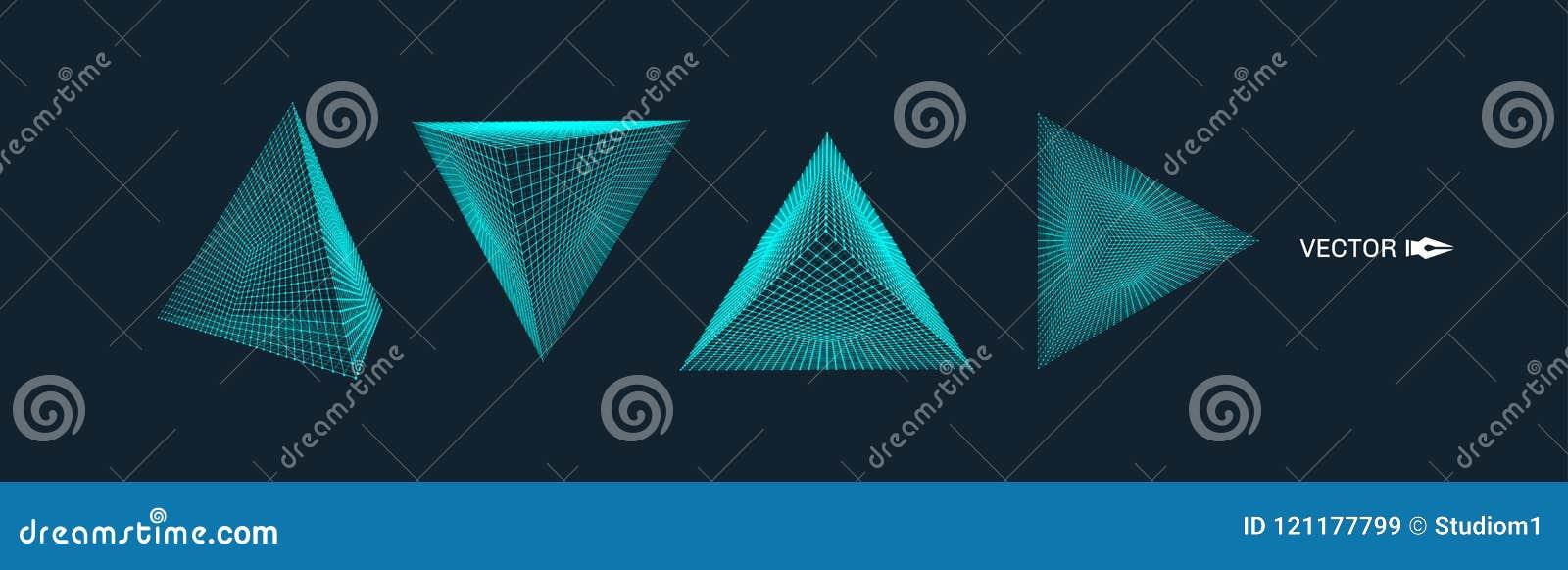 Ostrosłup Cząsteczkowa siatka 3D technologii styl również zwrócić corel ilustracji wektora Podłączeniowa struktura dla chemii i n