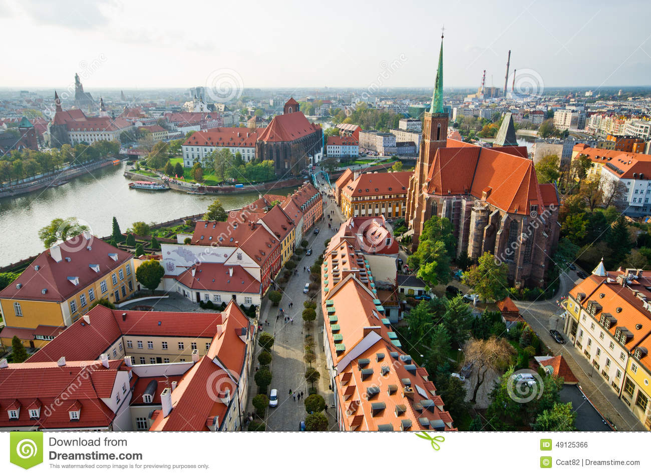 Ostrow Tumski from cathedral tower, Wroclaw, Poland
