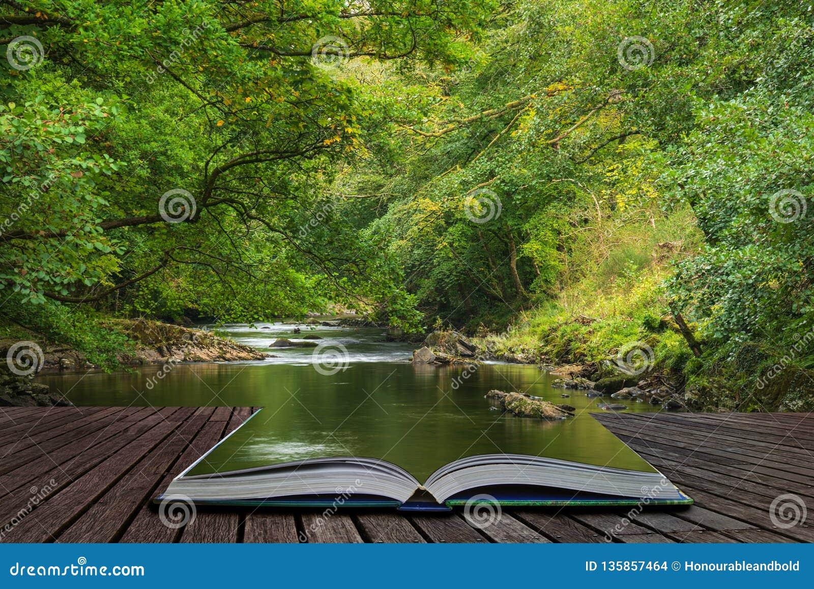 Oszałamiająco bujny zieleni riverbank z rzecznym spływaniem wolno za spokój krajobrazowymi wynika stronami otwarta opowieści ksią