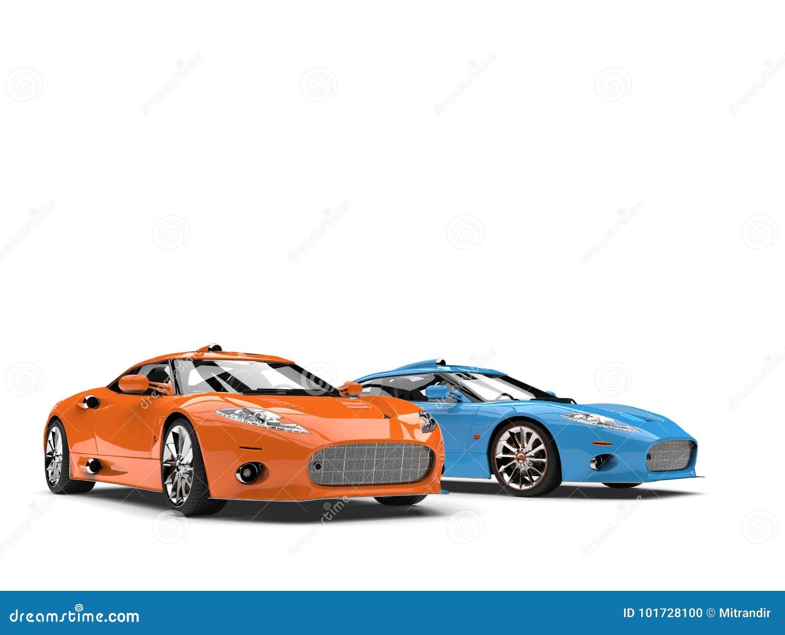 Oszałamiająco pomarańcze i błękitni nowożytni super sportów samochody