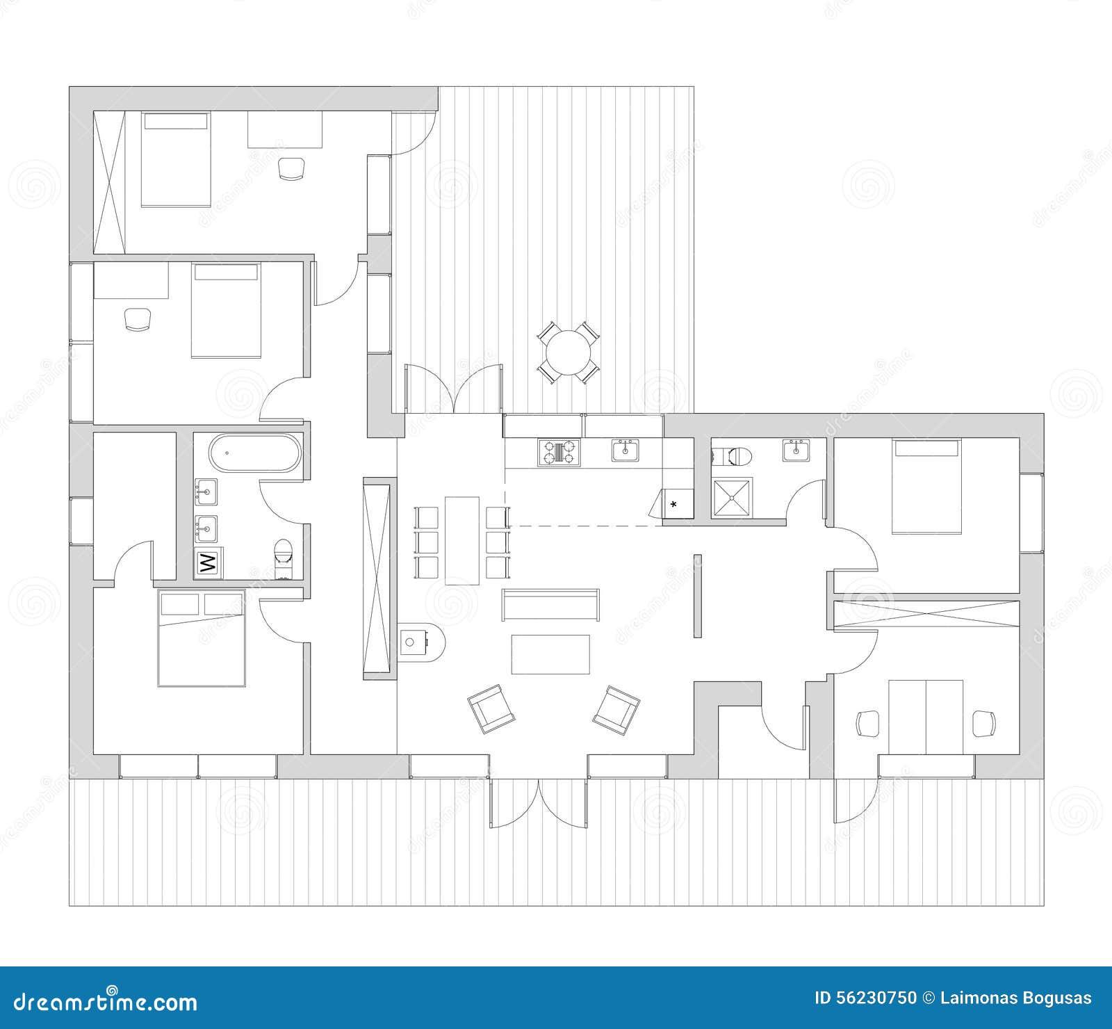 Ot da planta baixa a casa viva ilustra o stock imagem - Casa unifamiliare dwg ...