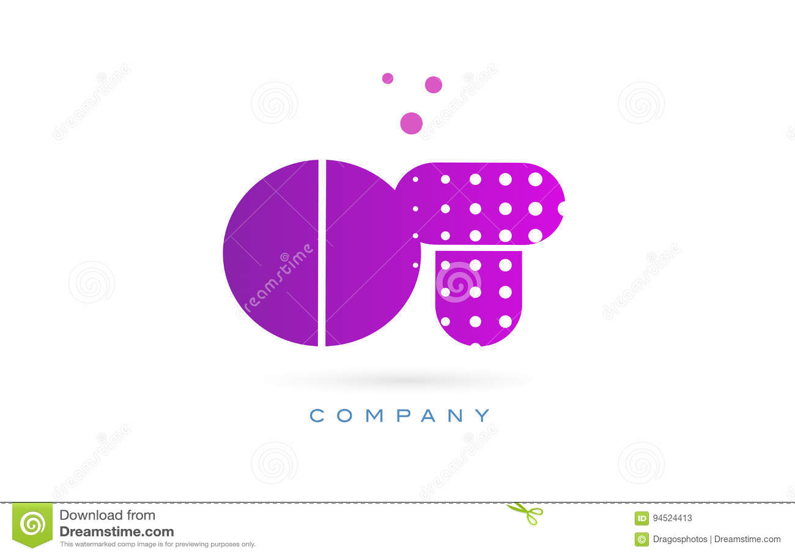 ot o t pink dots letter logo alphabet icon stock vector