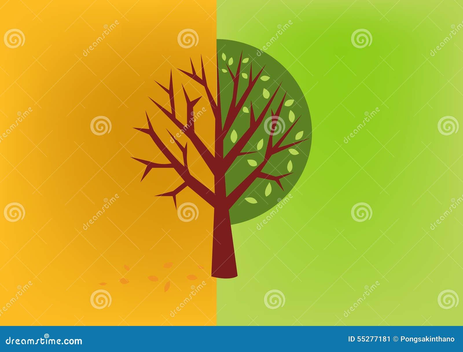 610c56b5c673 Otoño Del árbol, Vector Del Icono De La Primavera Ilustración del ...