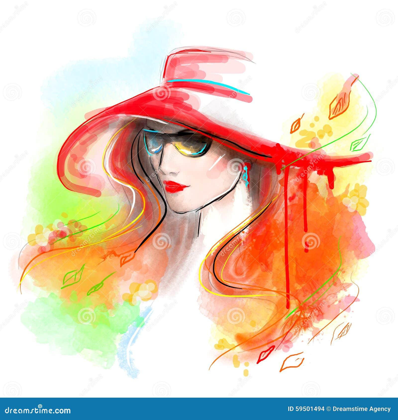 Otoño multicolor Mujer hermosa de la manera Autumn Abstract Color de agua del ejemplo