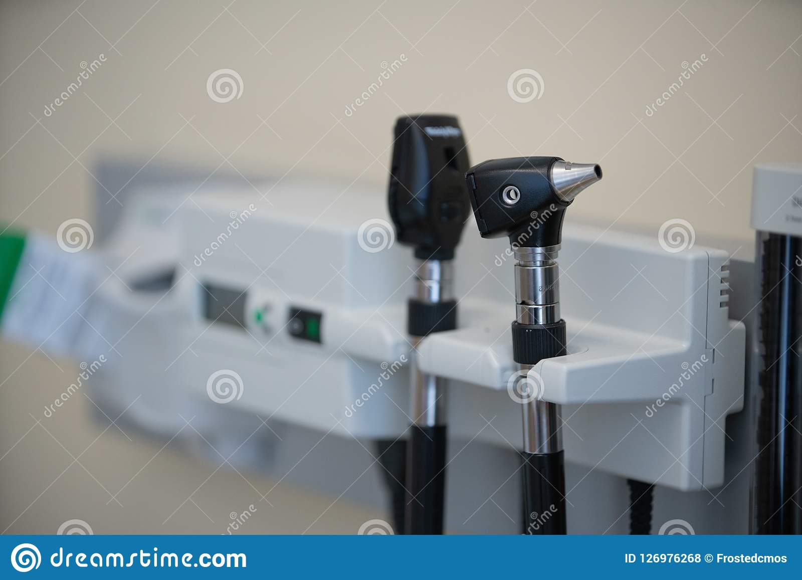 Otoscope auriscope in the doctor office