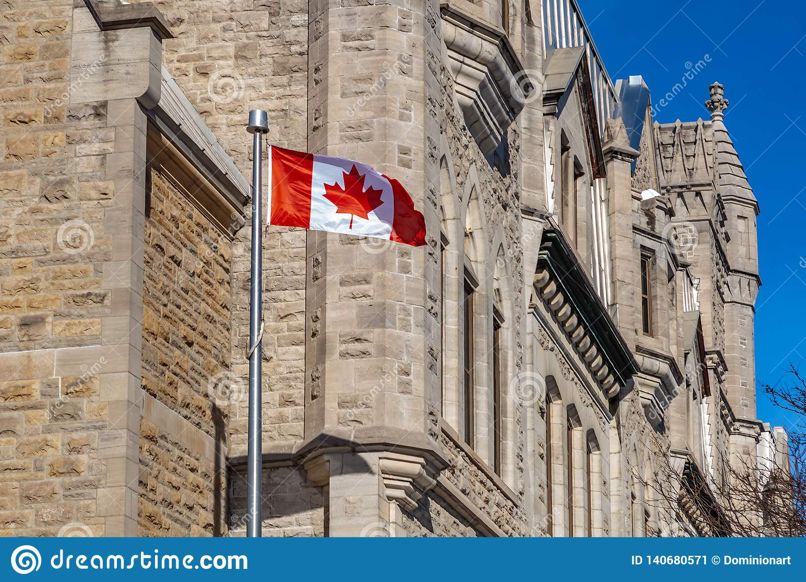 Ottawa CANADA - February 18, 2019: the cultural and national heritage of the Canadian state flag of the Confederation