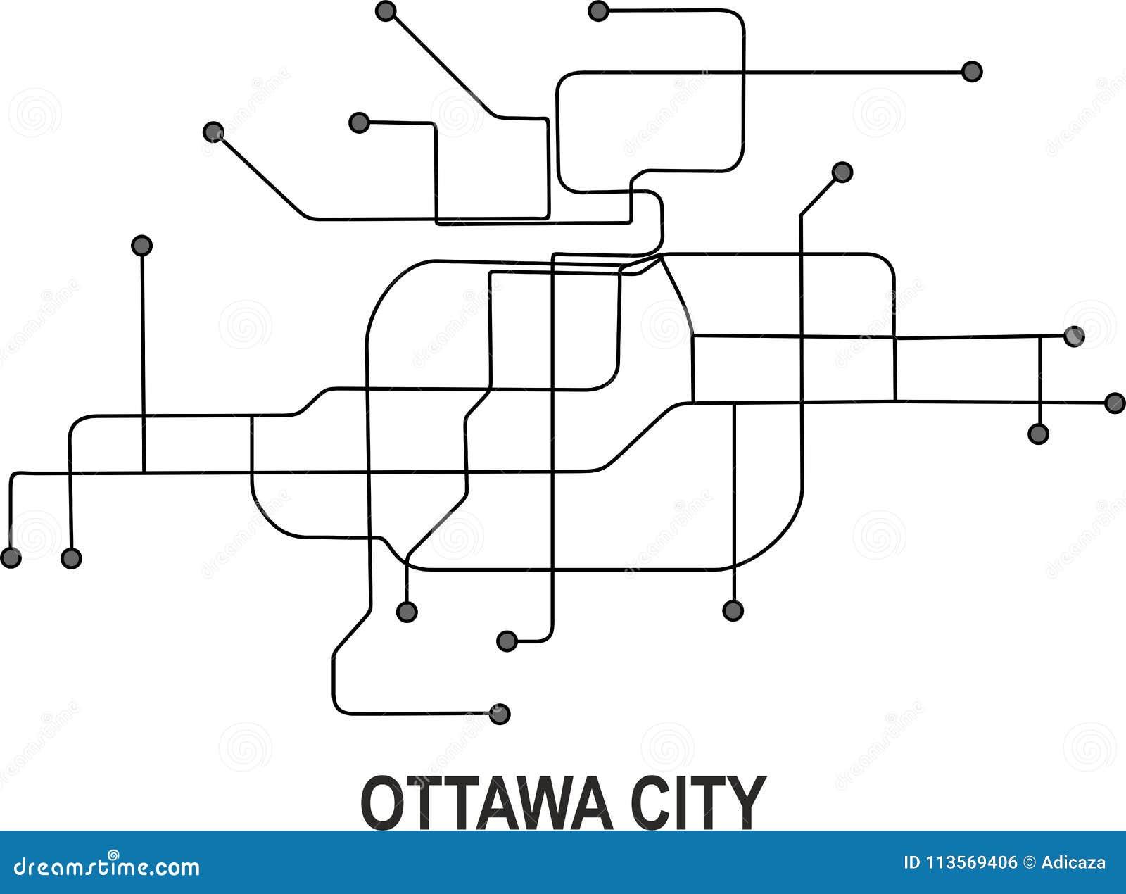 Ottawa Subway Map.Ottawa City Map Stock Vector Illustration Of Format 113569406