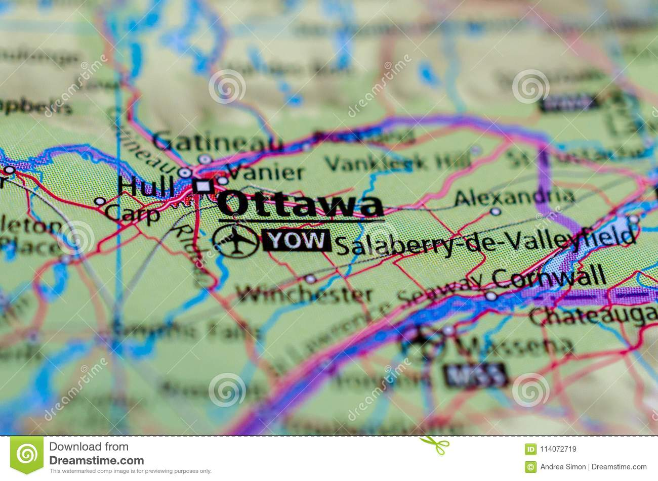 Ottawa On Map Of Canada.Ottawa On Map Stock Image Image Of Capital Highway 114072719