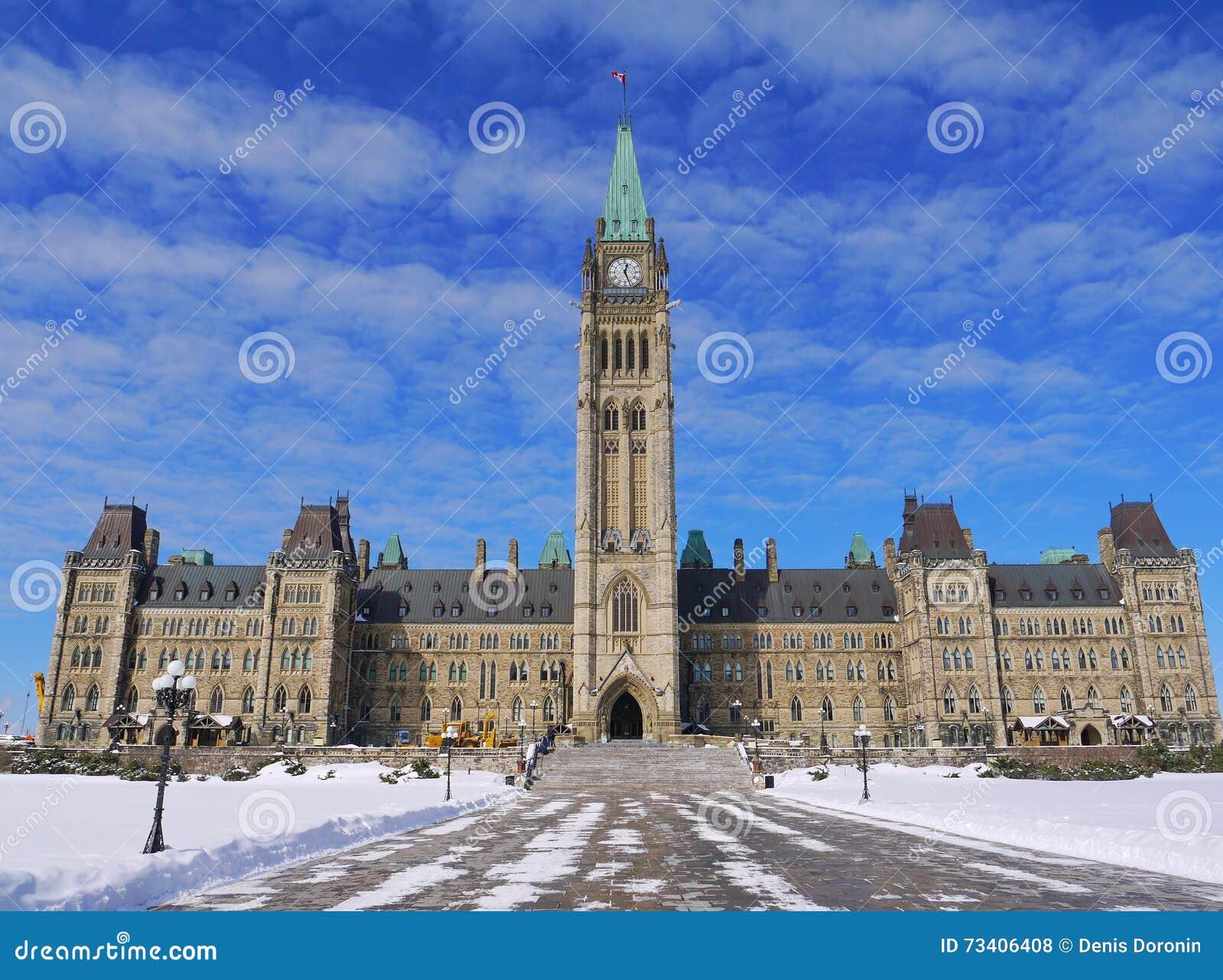 Ottawa parliament in winter time