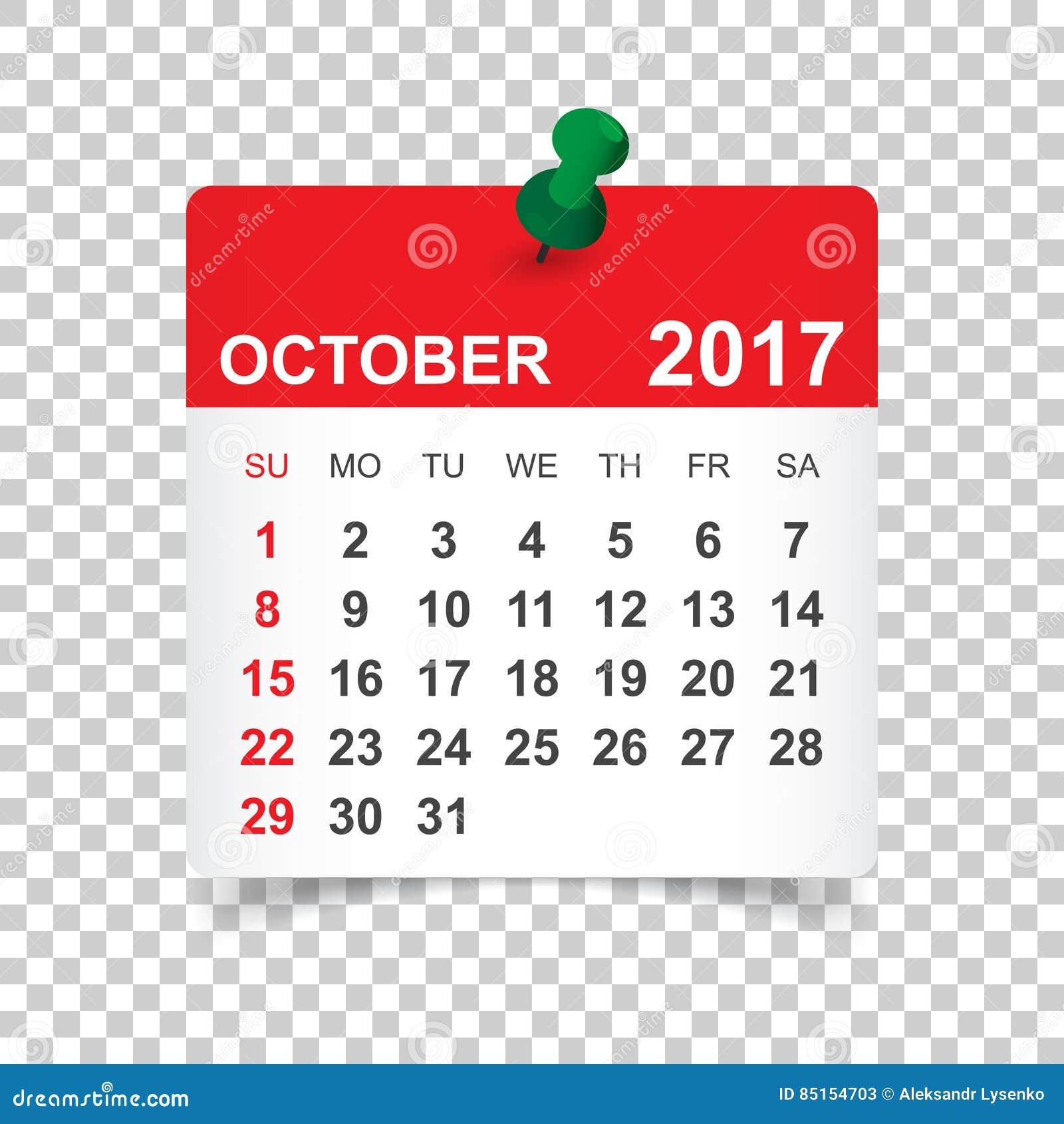 Ottobre 2017 calendario