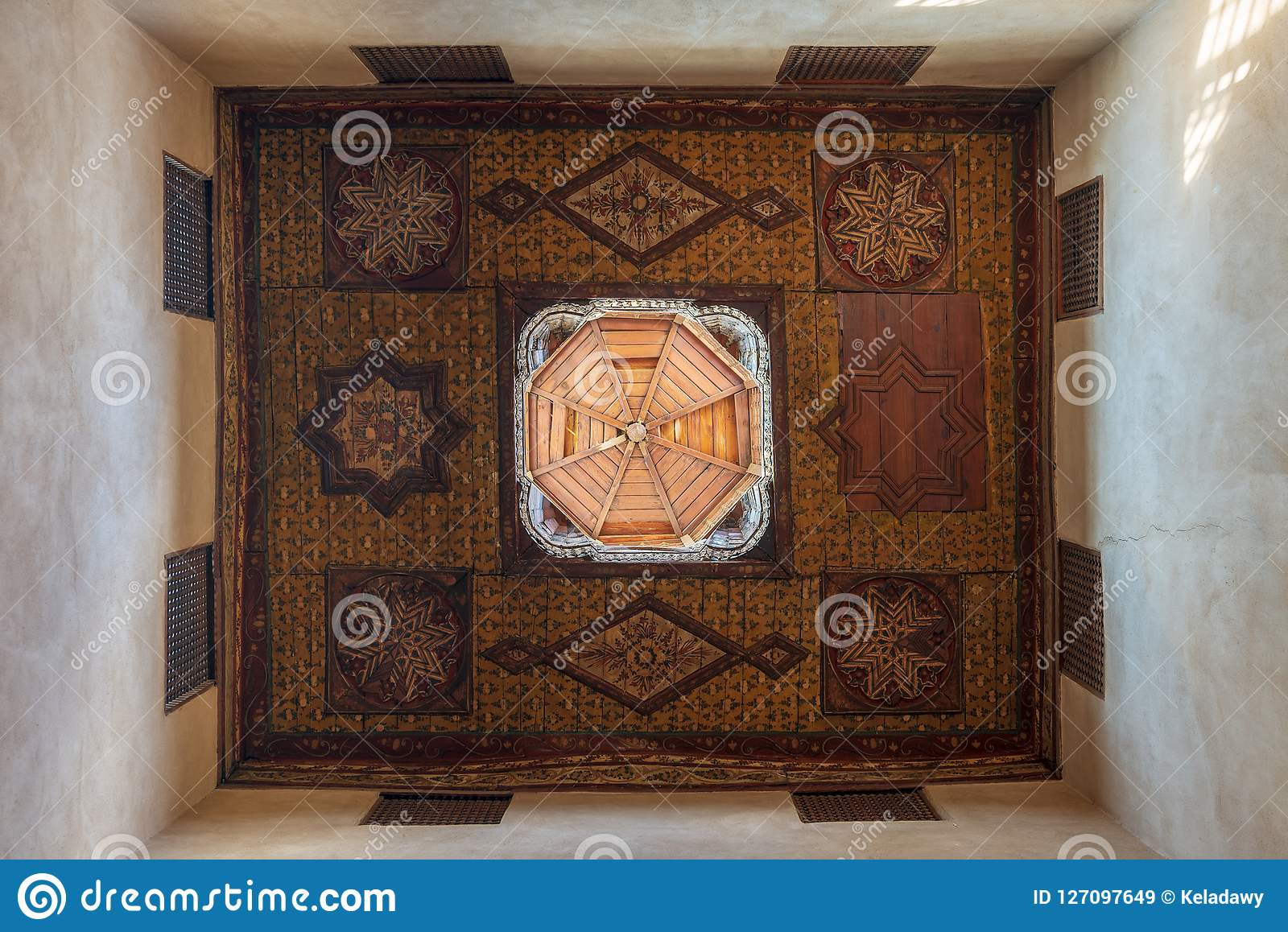Ottoman era decorated wooden ceiling with floral pattern decorations and wooden dome, Cairo, Egypt