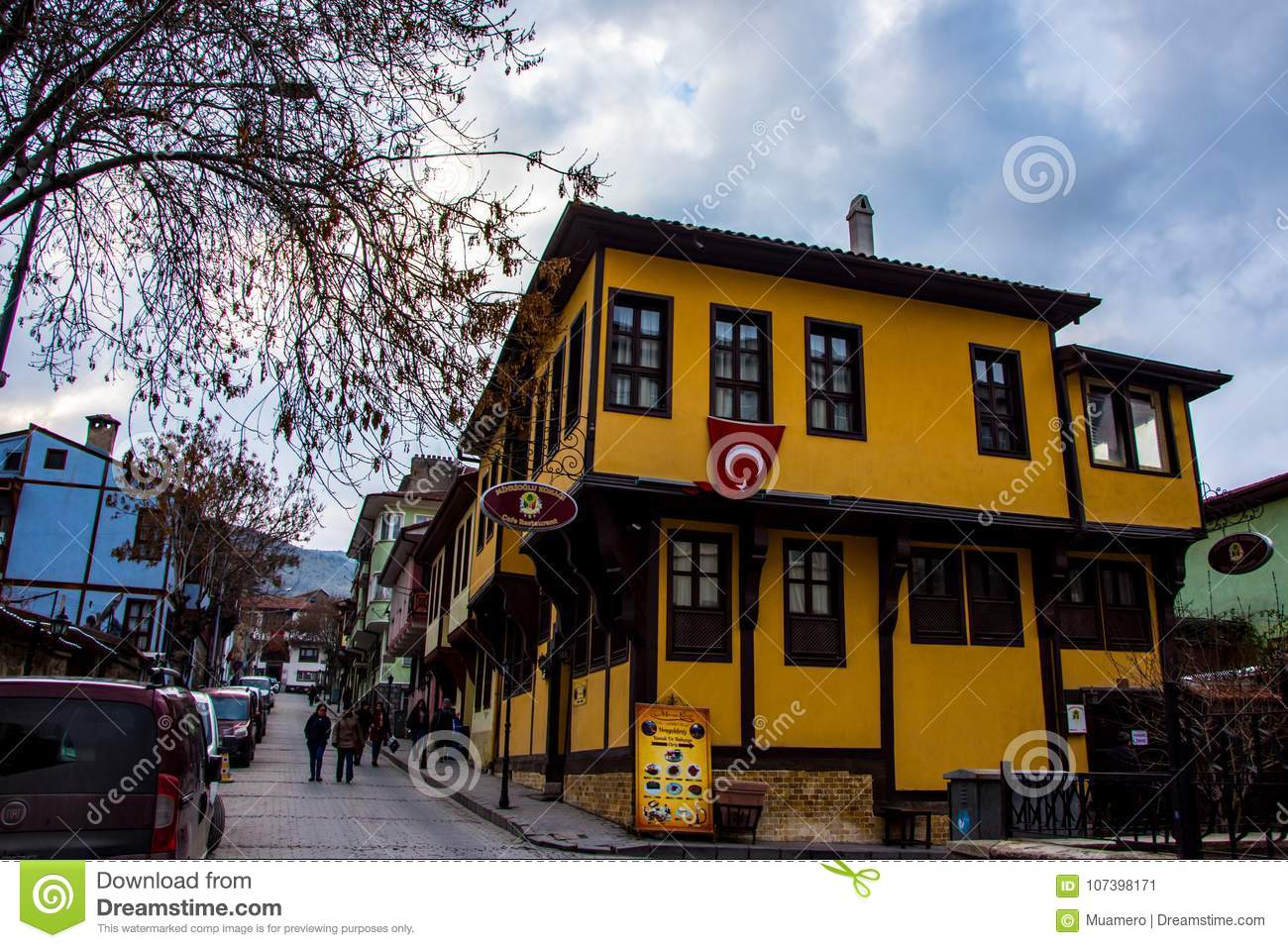 Ottoman houses street view in the city of Afyon