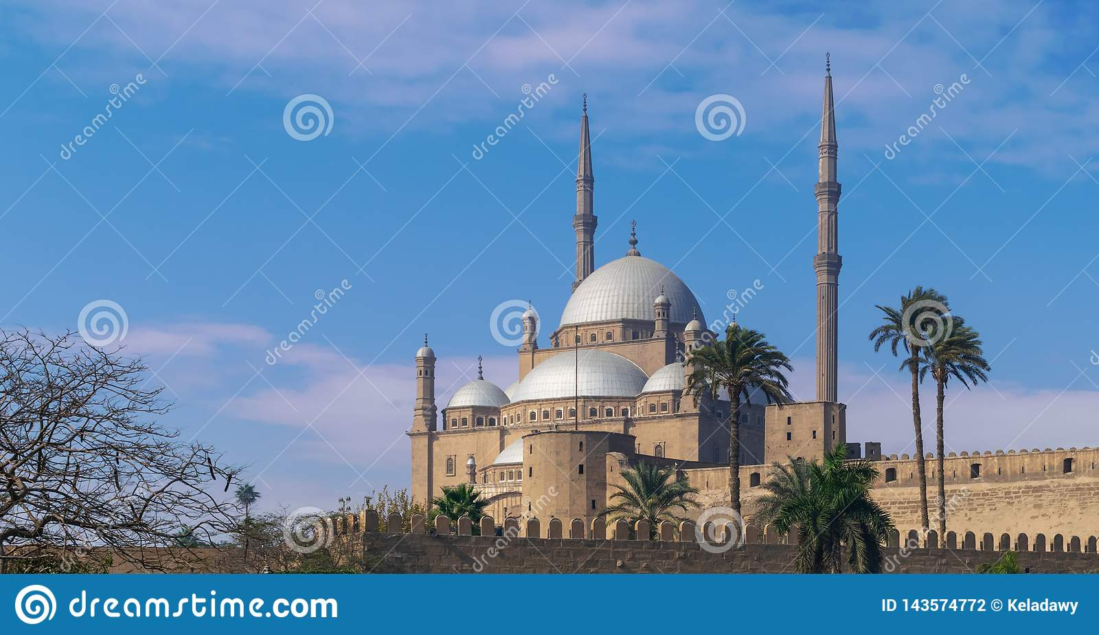 Ottoman style Great Mosque of Muhammad Ali, Citadel of Cairo, commissioned by Muhammad Ali Pasha, Cairo, Egypt