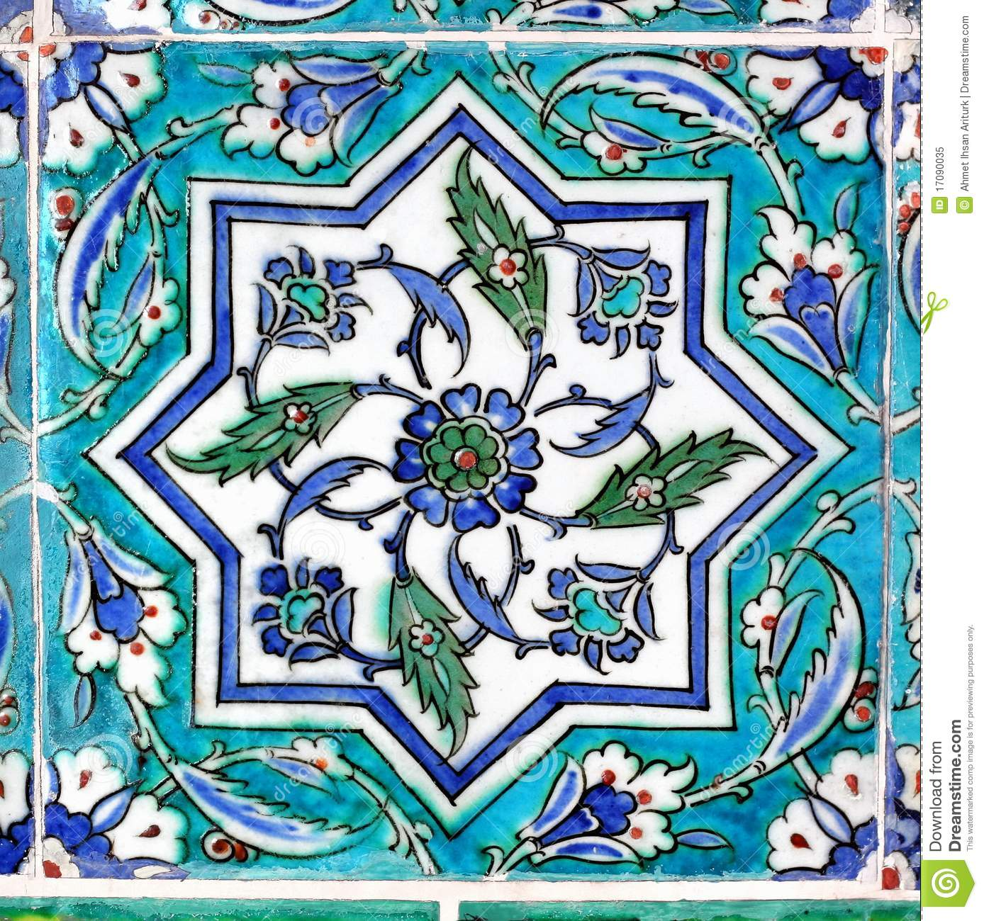 Turquoise Tile ottoman tile in turquoise royalty free stock photo - image: 17090035