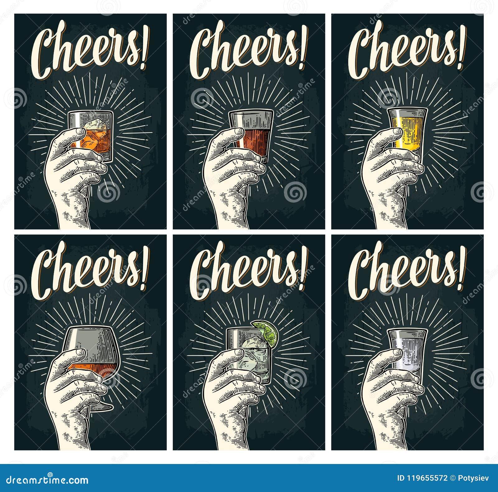 Otuch pisać list Wręcza chwytowi szklanego brandy, tequila, dżin, rum, whisky