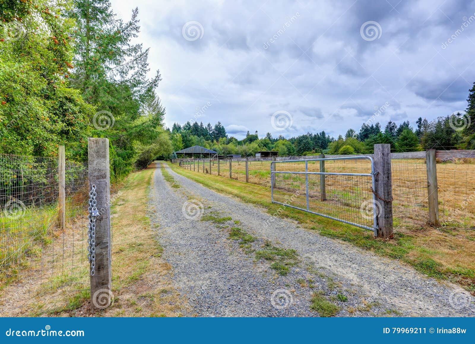 Otwarta brama koński gospodarstwo rolne w wsi