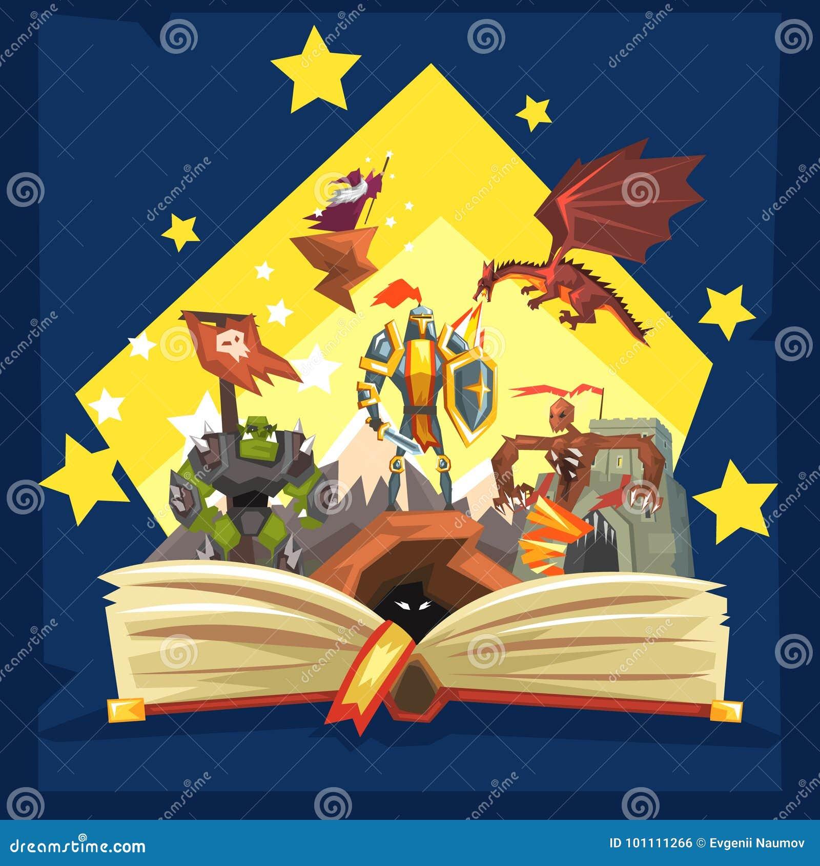 Otwarta książka z legendą, czarodziejska ogon fantazi książka z rycerzami, smok, czarownik, wyobraźni pojęcie