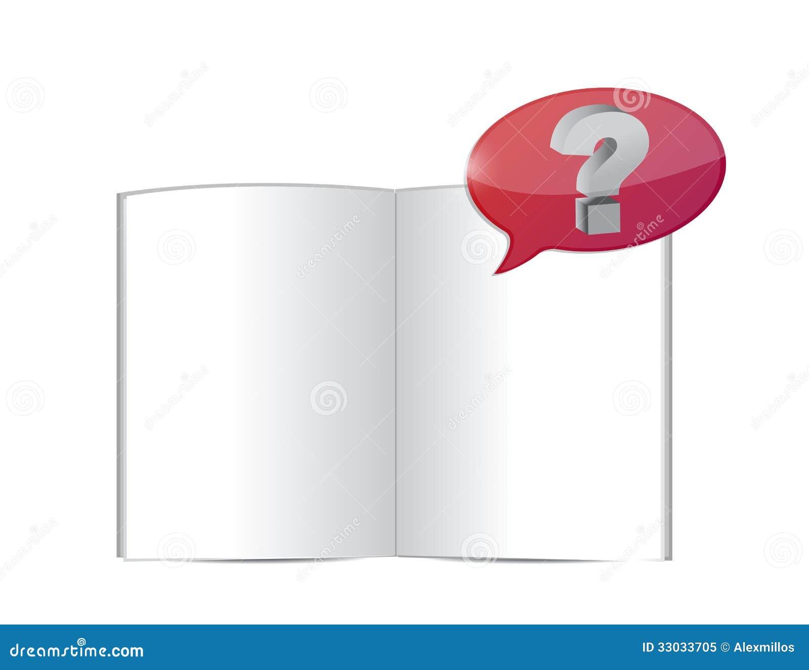 Otwarta książka z pytaniem strzela out. ilustracja