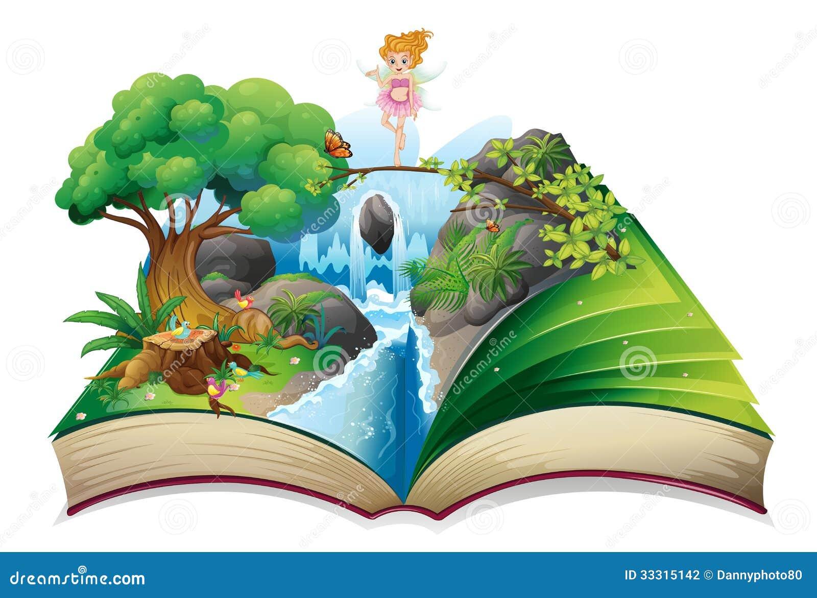 Otwarta książka z wizerunkiem czarodziejska ziemia